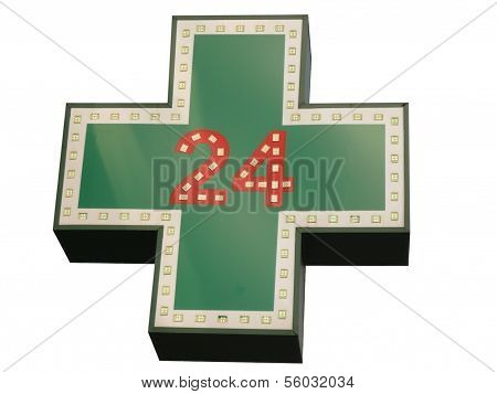 Medical  Twenty-four-hour Drugstore Signboard Isolated