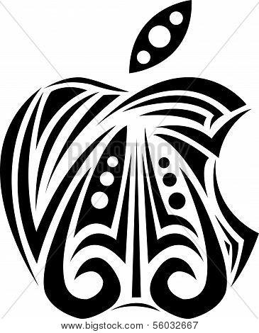 Black apple ornament vector