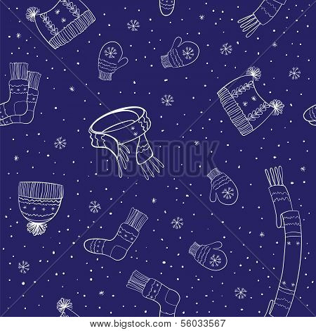 Seamless Pattern Of Winter Accessories