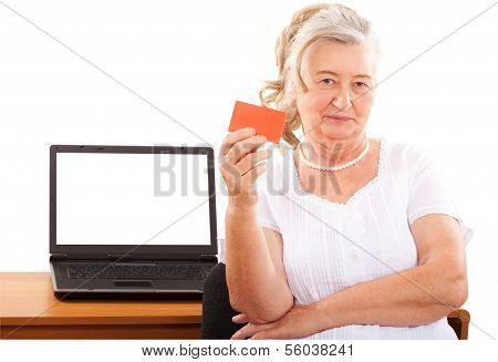 elderly woman doing online shopping