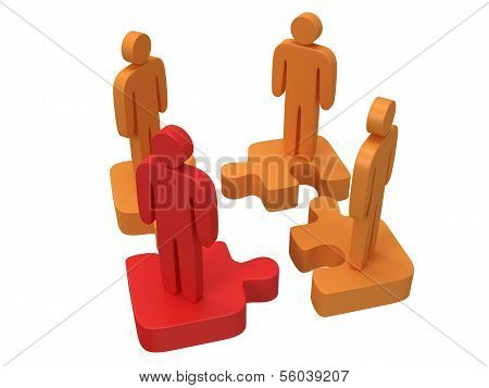 3d puzzle and people on white background