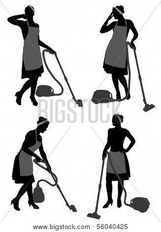 Putzfrau mit Staubsauger