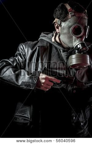 Terrorist, thief, armed man with black leather jacket, dangerous