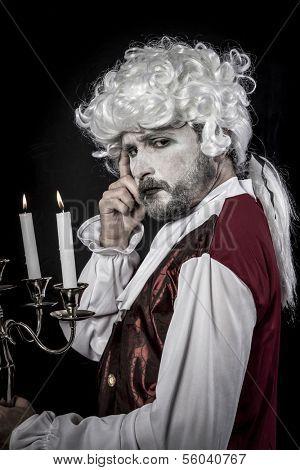 Eighteen era, gentleman rococo wig, candle