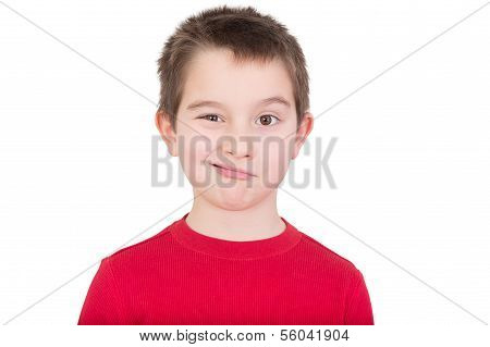 Cute Young Boy Winking At The Camera