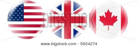 USA, UK, Canada flag buttons