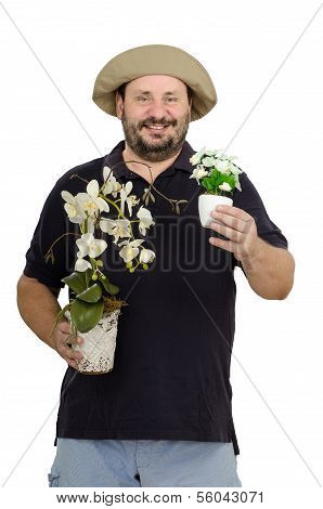 Master Florist With White Flowers
