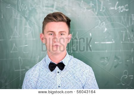 Portrait of a smart student with bowtie