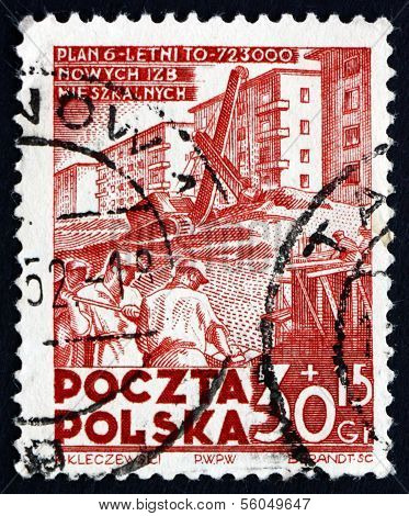 Postage Stamp Poland 1952 Apartment House Construction