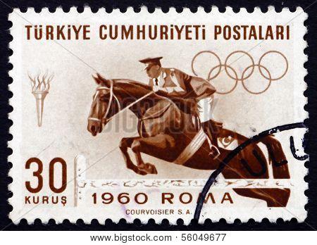 Postage Stamp Turkey 1960 Steeplechase, Horse Racing