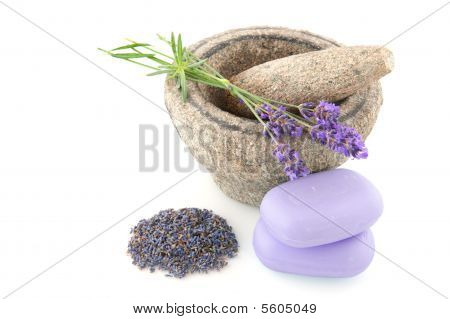 Mortar with lavender soap