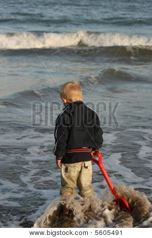 boy in cold sea water