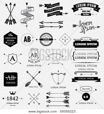 Vintage design elements. Retro style. arrows, labels, ribbons.
