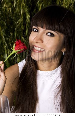 Brunette With Rose