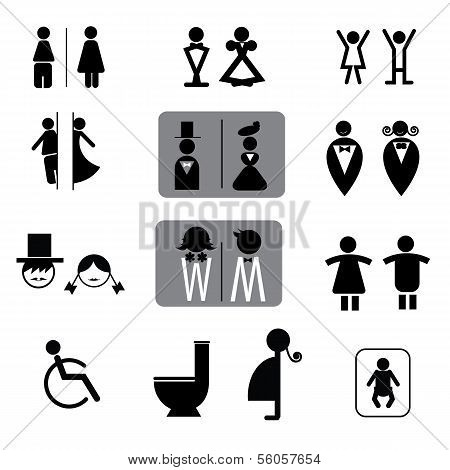 Toilet signs vector set