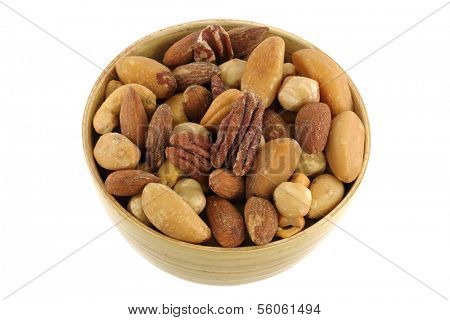 A bowl of Roasted and Salted nuts isolated on white
