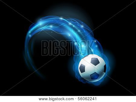 Soccer ball in blue flames and lights against black background. Vector illustration.