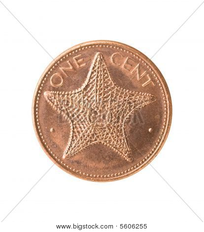 Bahamas Coin With Starfish, Clipping Path