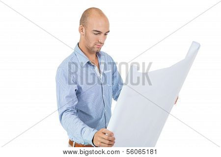 Architect Reading A Blueprint