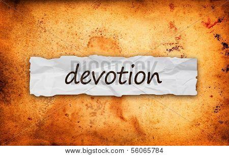 Devotion Title On Piece Of Paper