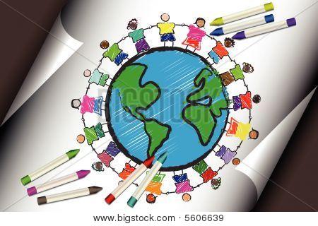 Grupo de niños con diferentes razas cogidos de la mano