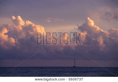 Sunset & Cumulus Clouds -   Dominican Republic