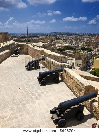 Medieval Battery And Cannons