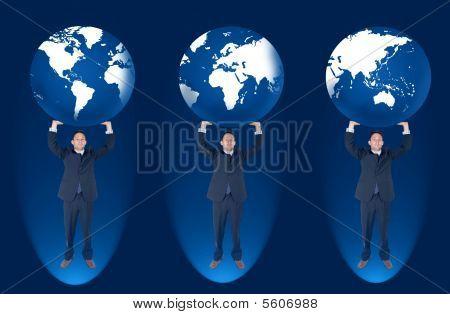 Homem de negócios larga do mundo
