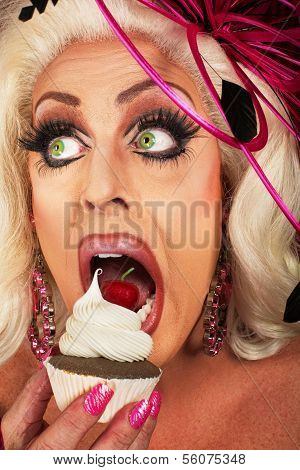 Blond Woman Snacking