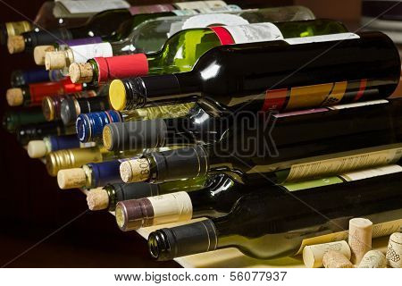 Wine Bottles And Corks.