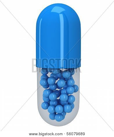 Pill capsule with granules. 3d render.