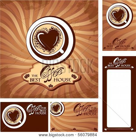 Template Designs Of Menu And Business Cards For Cofee House. Background For Restaurant Or Cafe Menu.