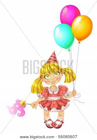 Little fairy in red dress with baloons