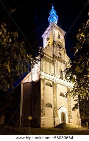 Night view of the Evangelical Church in Cieszyn