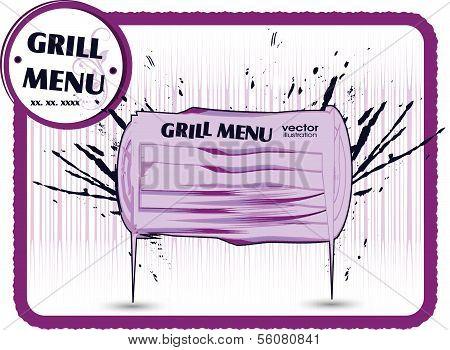 Grill menu card. Grungy design template.