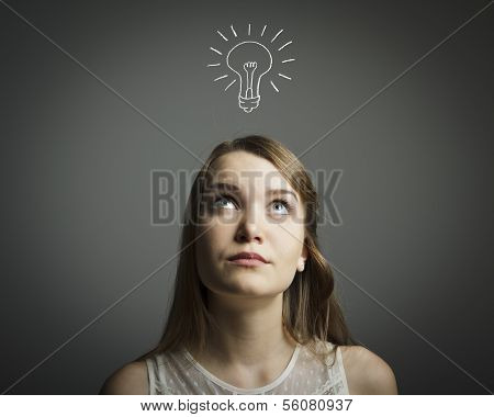 Girl In White And Light Bulb