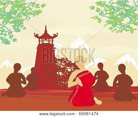 Monks During Prayer