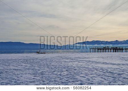 Lake Tahoe Pier in Winter