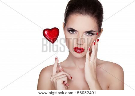 Beauty Portrait. Beautiful Spa Woman With Red Lips, Manicured Polish Nails Isolated On White Backgro