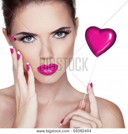 Bright Makeup. Beauty Portrait. Beautiful  Woman Touching Her Face. Perfect Fresh Skin. Pure Beauty