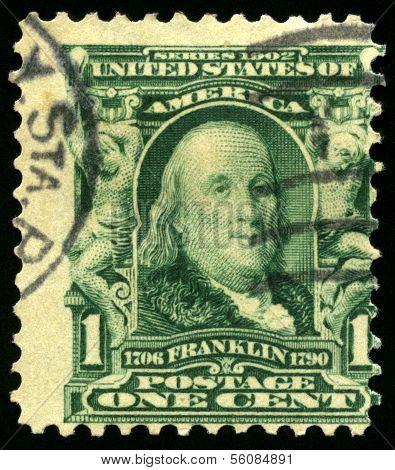 Vintage Us Postage Stamp Of Benjamin Franklin (1902)
