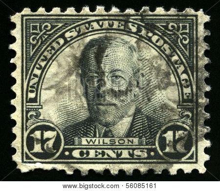 Vintage Us Postage Stamp Of President Wilson