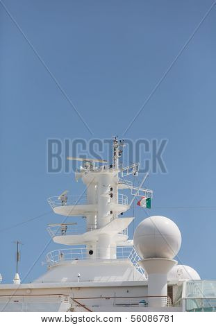 Communicaiton Tower On Cruise Ship With Italiian Flag