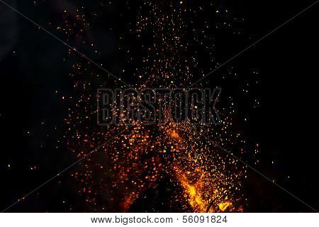 Blurred Background Of A Campfire With Shower Of Sparks