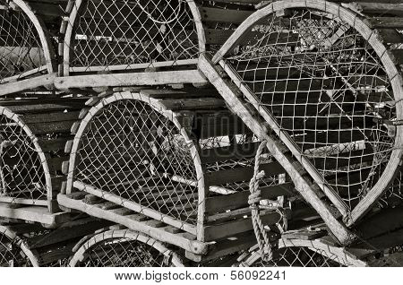 Lobster traps in black and white