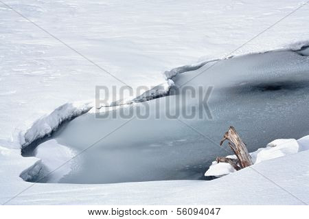 Cold Landscape of Frozen Pond