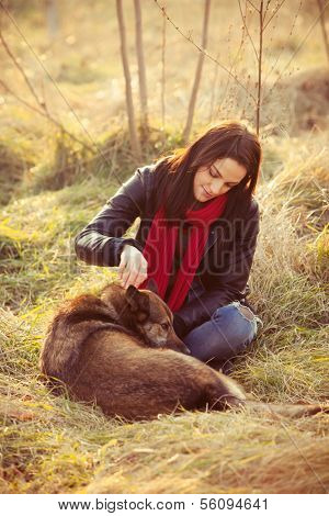 girl with pariah dog sit in yellow grass warm winter day retro colors