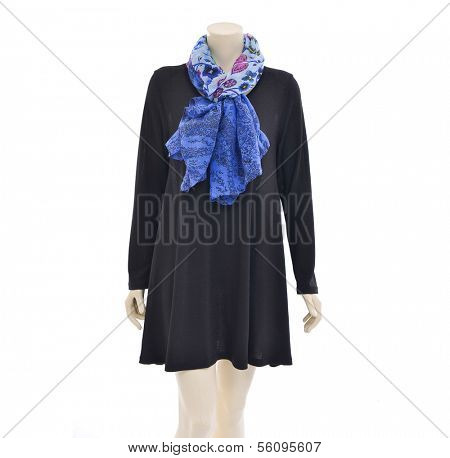 Mannequin female in dressed with blue scarf and black sundress on white background