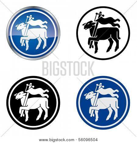 Butcher - Traditional Craftsmen's Guild Vector Symbol, four variations