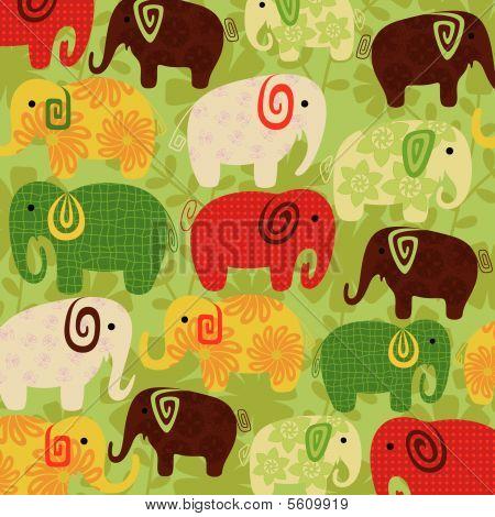 Patrón de dibujos animados elefante